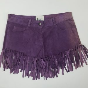 Vintage Purple Leather Suede Fringe Shorts